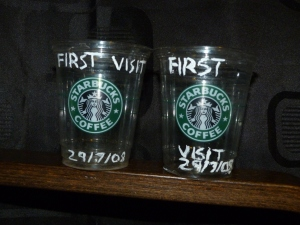 The cups from our first Starbucks visit - 29/7/08