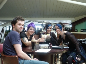 Us, Neen and Ryan at Bristol airport, ready to fly to Edinburgh.