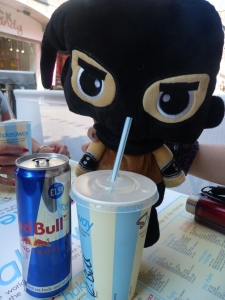 Ketch enjoying a Red Bull smoothie