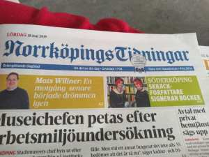 Front page of the Norrkoping newspaper